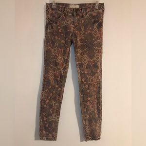 Free People Patterned Jeans Skinny 25